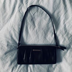 Calvin Klein Black Leather Rouched Purse